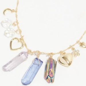 Gold heart faux crystal cluster chain necklace
